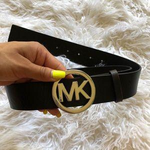 Michael Kors big buckle black genuine lather